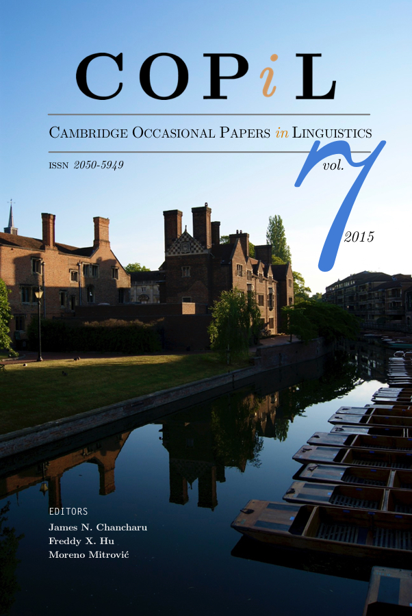 Cambridge occasional papers in linguistics: Volume 7