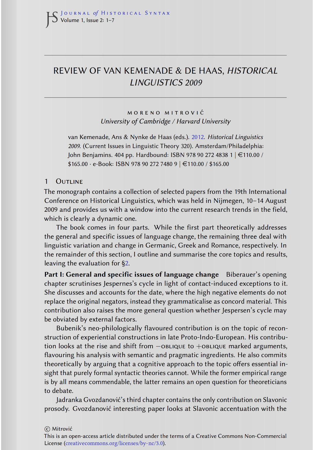 Review of van Kemenade & de Haas (2012), Historical Linguistics 2009